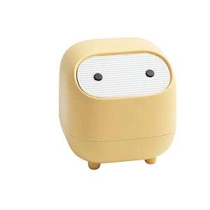 Gona Mini Trash Can, Mini Cute Cartoons Bin Small Press-Type Trash Can with Lid, Detachable Desktop Waste Dustbin for Home Bathroom Vanity Countertop or Tabletop(Yellow)