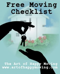 Free printable moving checklist. The Art of Happy Moving. www.artofhappymoving.com