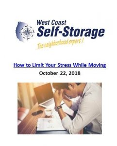 West Coast Self Storage_How to Limit Your Stress While Moving