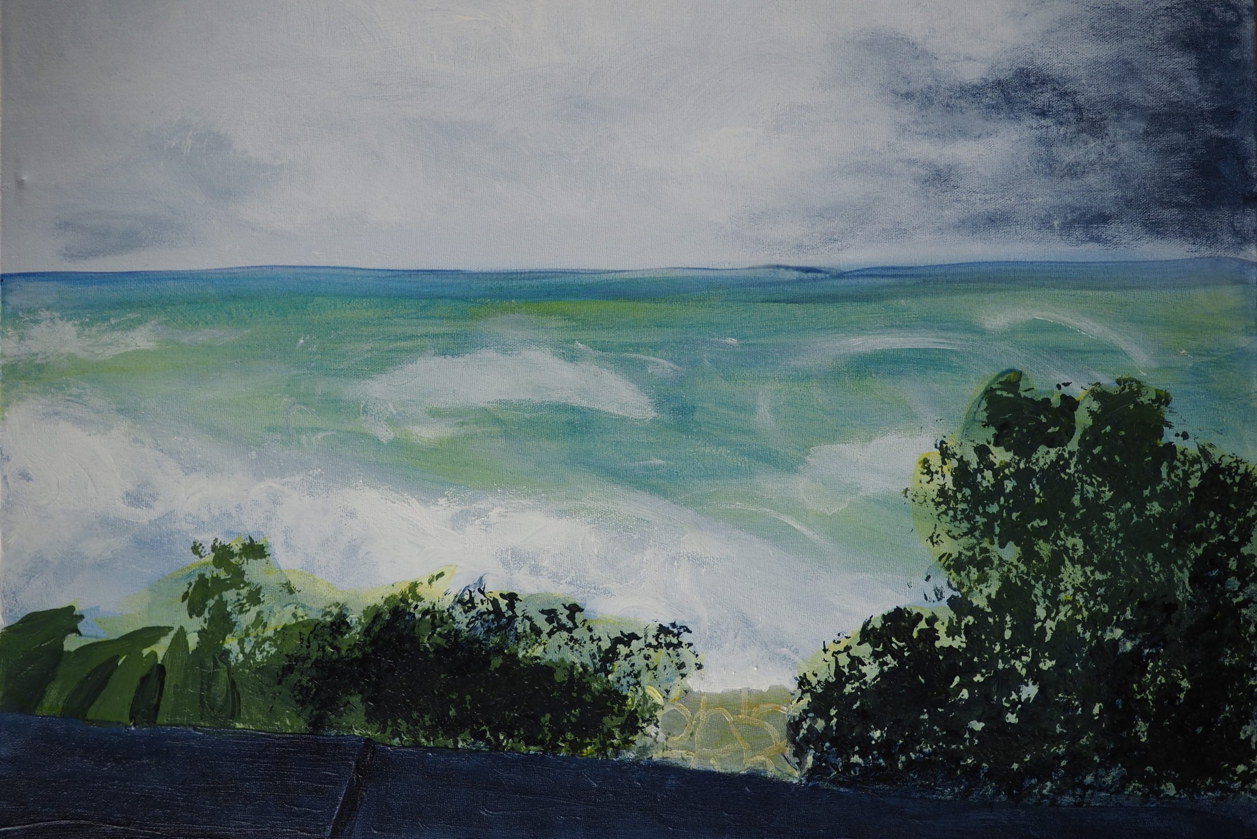 Stormwatching from the Beach, 18 in x 24 in, acrylic on canvas (2019)