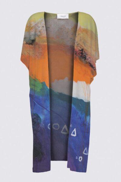 Colorful Blue Orange White Kimono Wrap