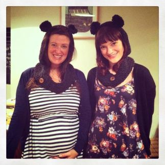Laura and me at Craft Night modelling our new snoods!