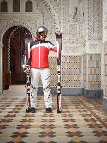 Alberto ski jacket - Livio ski pants - Fulcrum helmet Stelvio tricolored gloves - SL race 165 race ski