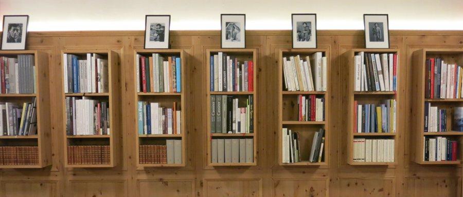 Die Bücherauswahl in der Bibliothek in der Pensiun Aldier.