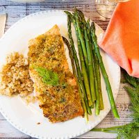 Horseradish Crusted Salmon with Asparagus