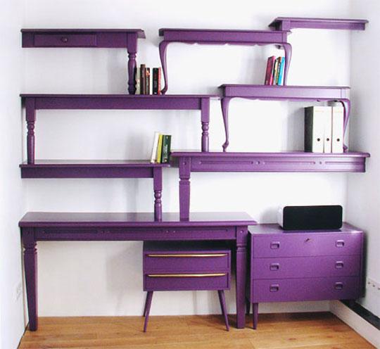 Sarasota-Interior-Design-Purple-Table-Repurposed-Shelving