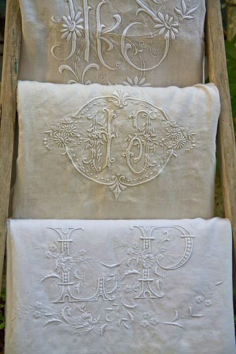 vintage linen towels with monograms photo source