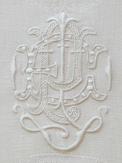 two letter monogrammed napkin  photo source