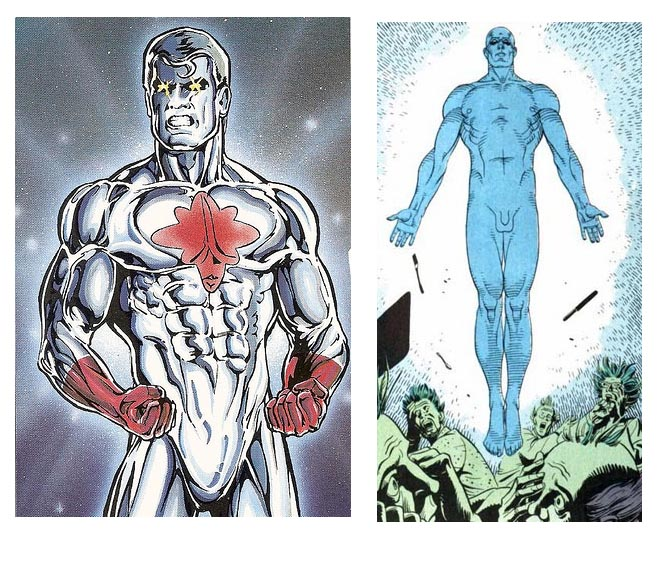 Capt. Atom on left, Dr. Manhattan on right