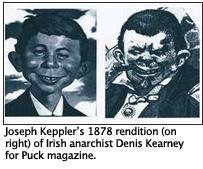 Joseph Keppler's 1878 rendition (on right) of Irish anarchist Denis Kearney for Puck magazine.