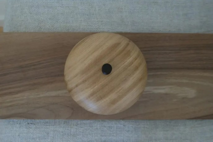 Wooden wood turned oak box with cocobolo knob.