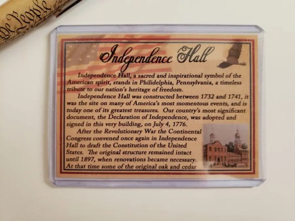 Independence Hall Certificate of Authenticity