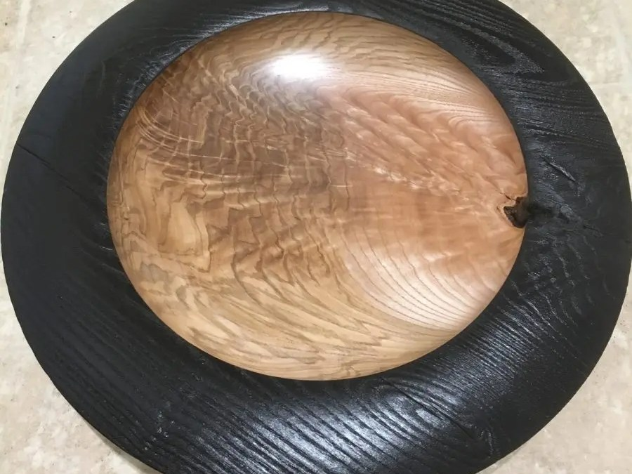 Feathered Ash Platter with Scorched Rim