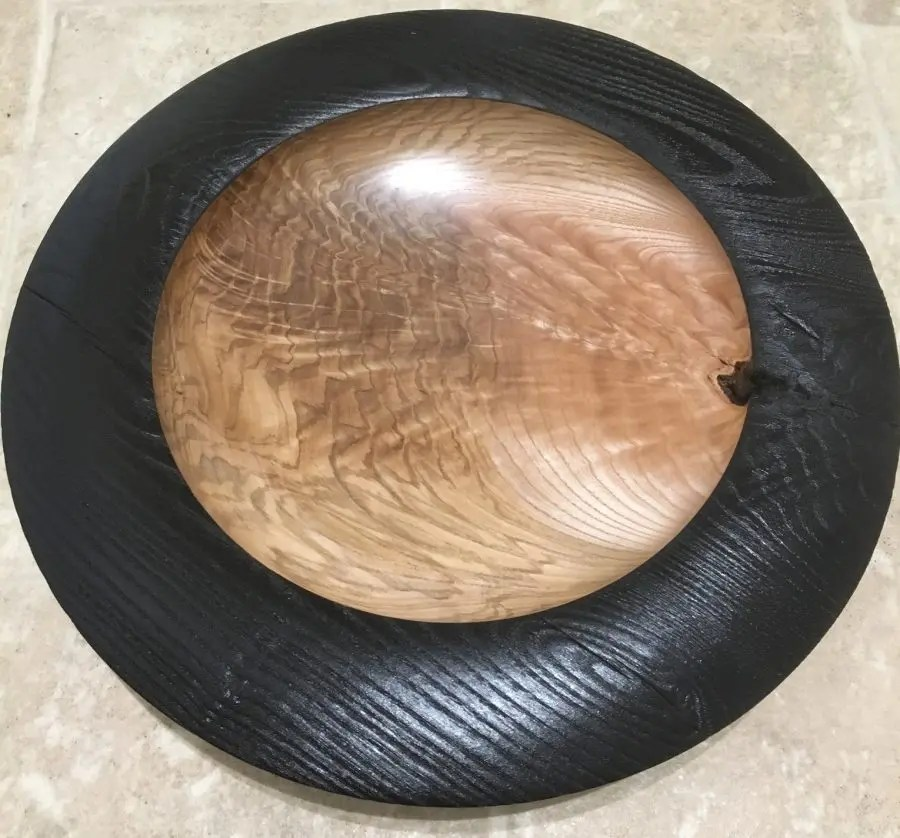 Ash Platter Burned with Torch - Woodturning