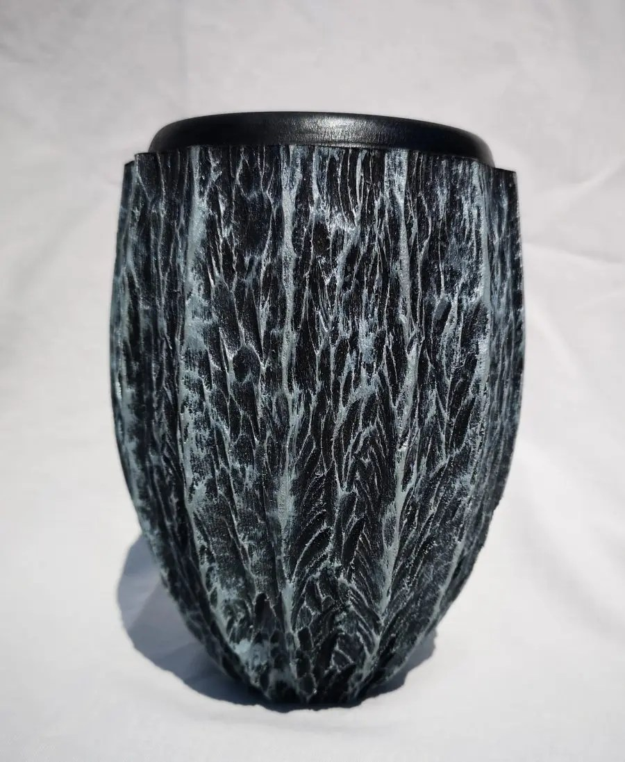 London Planetree vase wood turned and carved
