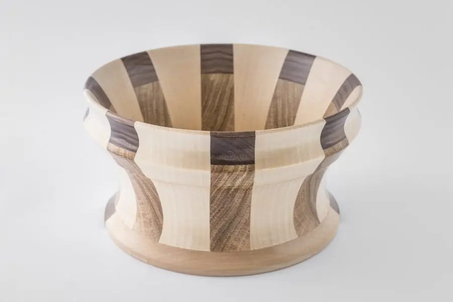 Segmented Oak, Walnut, and Ash Bowl