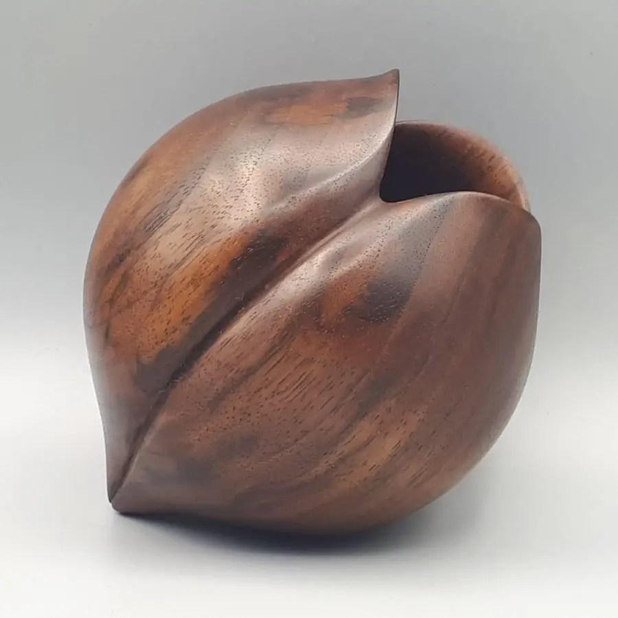 Beautiful black walnut hollow form woodturning.