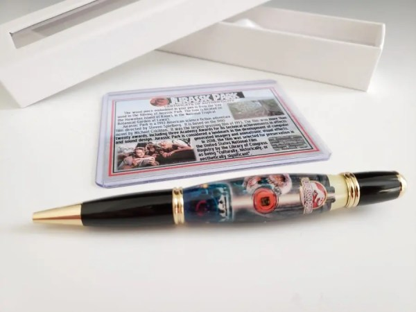 Jurassic Park gift pen with beautiful design and real wood used in the movie.