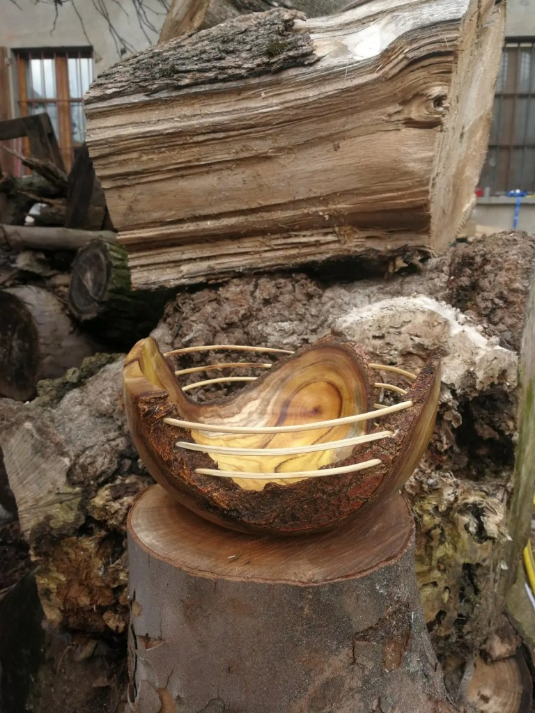 Mulberry rustic bowl, wood turned with bamboo accents
