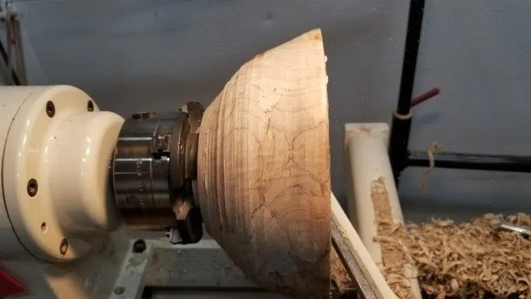 Wood turning a spalted maple bowl on a wood lathe