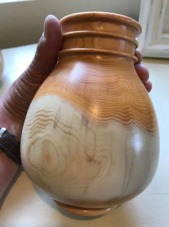 Woodturned jar from English yew