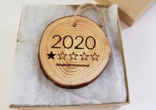 2020 1 star review wood slice ornament