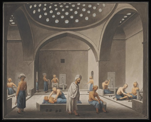 Watercolour of Turkish bath or hamam by Greek