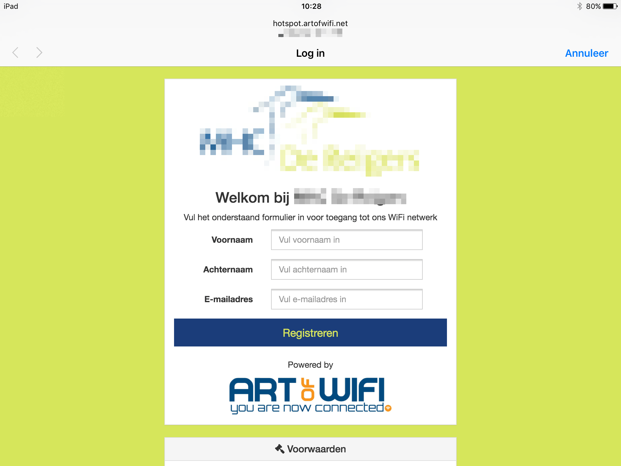 Example captive portal splash page for UniFi wifi, iPad resolution