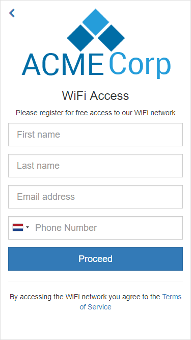 The captive portal registration page where user must enter their details
