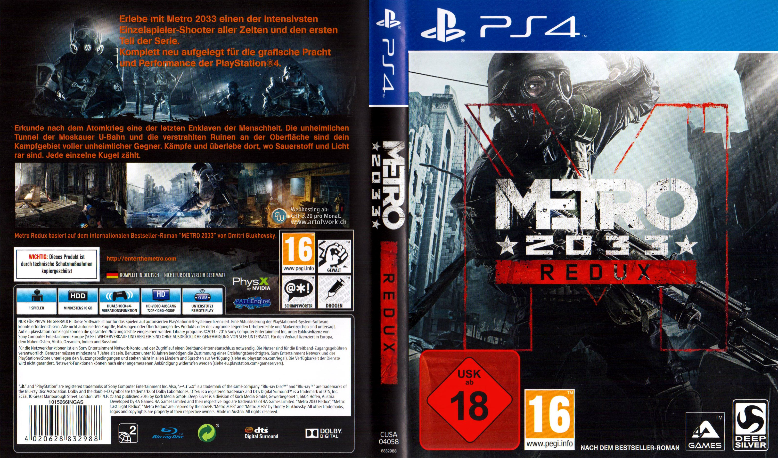 Playstation 4 Covers Metro 2033 The Crew The Division