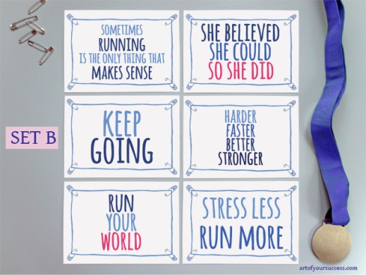 Motivation quotes for sport and life on postcards