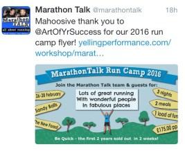 MarathonTalk thank you for Run Camp flyer