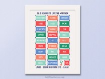 Marathon race bib print gift for marathon runner
