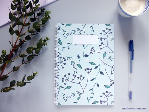 A5 spiral notebook plant design