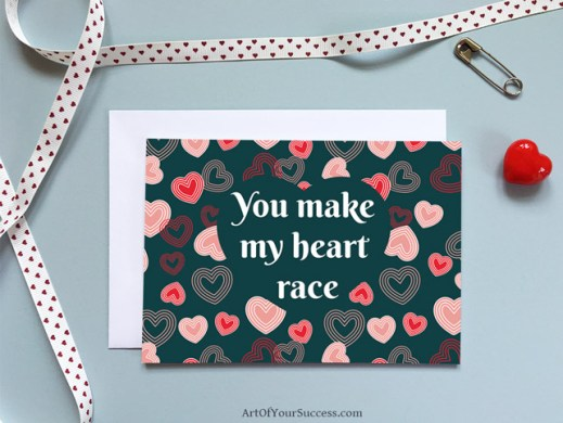 Valentine card for runner, cyclist, triathlete