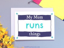 My mum runs things card funny Mother's Day card