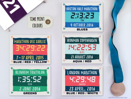 Personalised time prints for runners triathletes