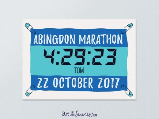 Marathon finisher time print gift