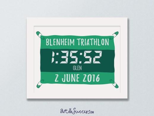Triathlon finish time print