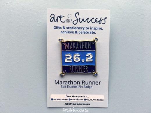 Marathon runner pin on card