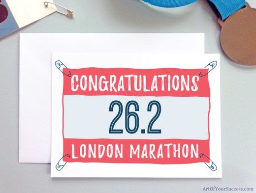 London Marathon Congratulations running card