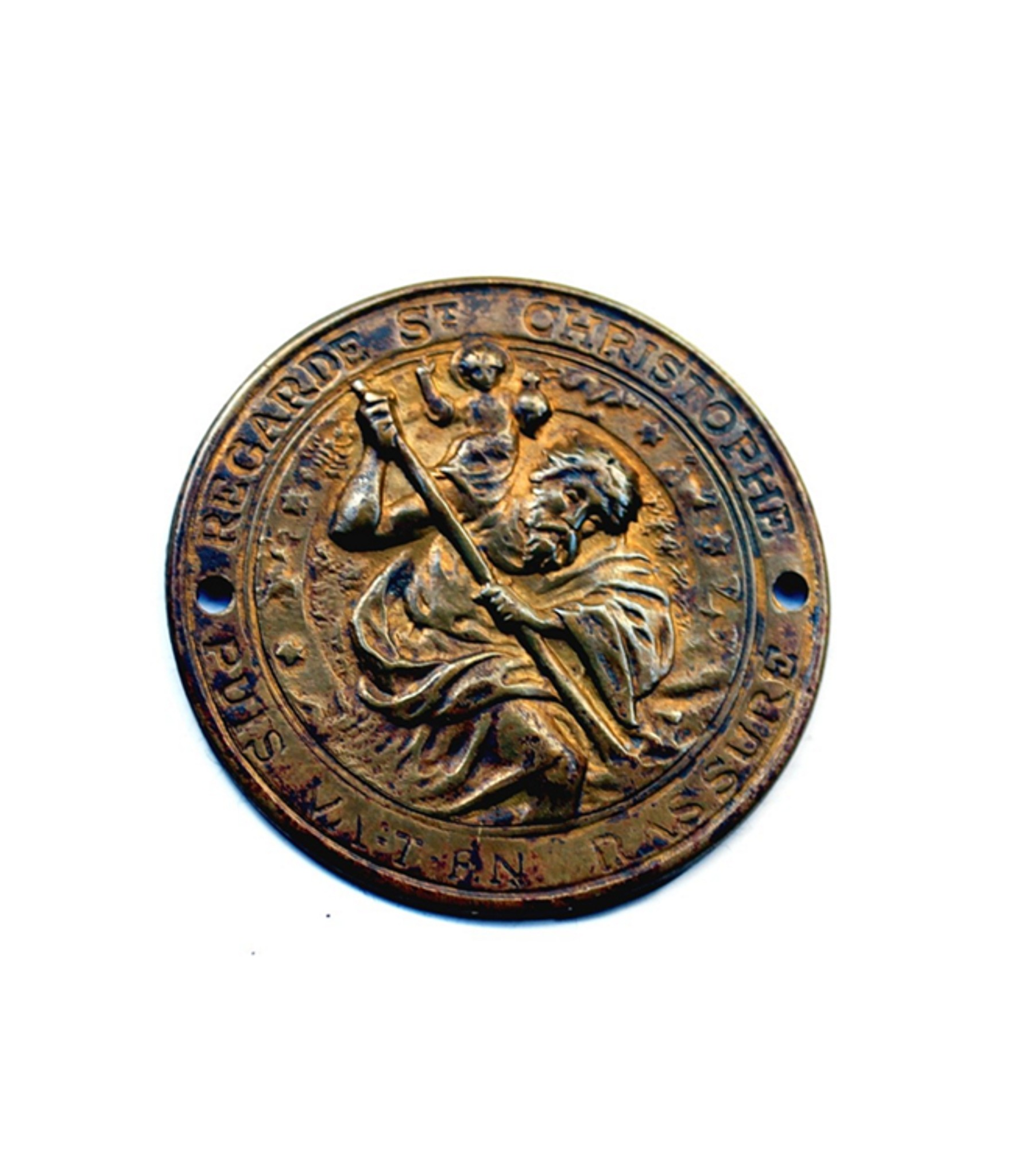 Round St.Christopher badge with Zodiac symbols