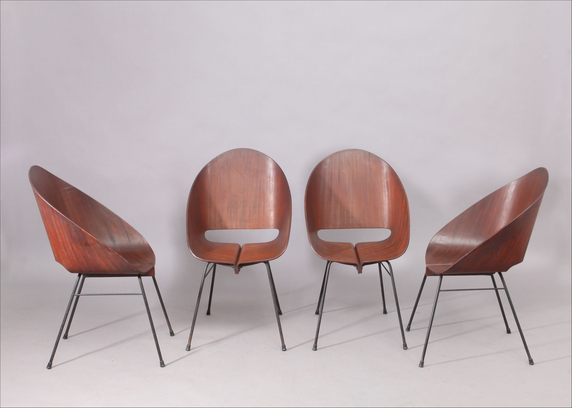 Four Molded Plywood Stacking Chairs Attributed To Vittorio