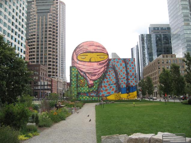 View of mural from Dewey Square Park on Rose Kennedy Greenway, summer 2013