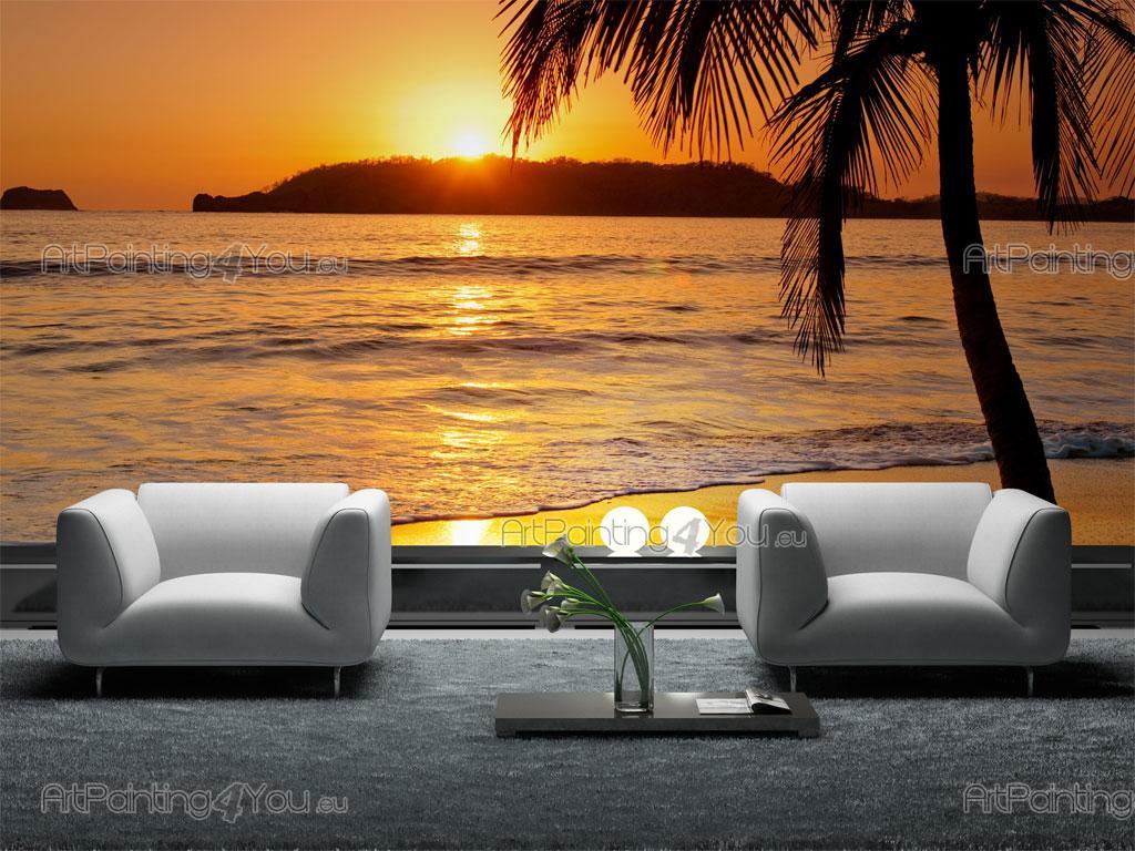 poster mural plage coucher de soleil