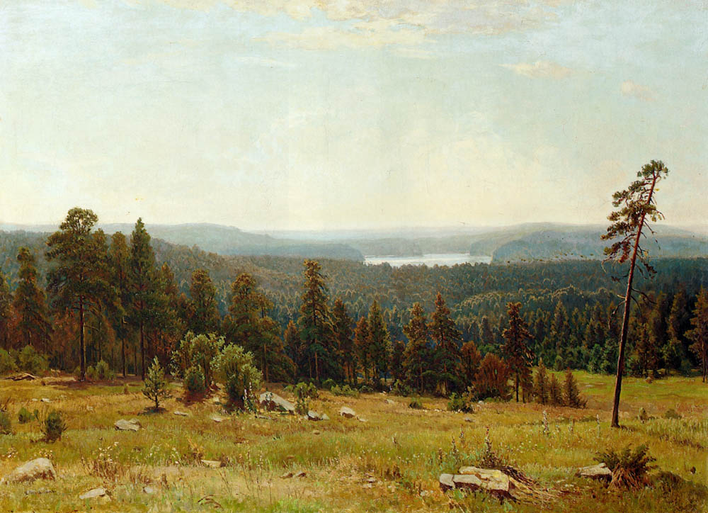 A Lakeside Forest by Ivan Shishkin-Oil Painting