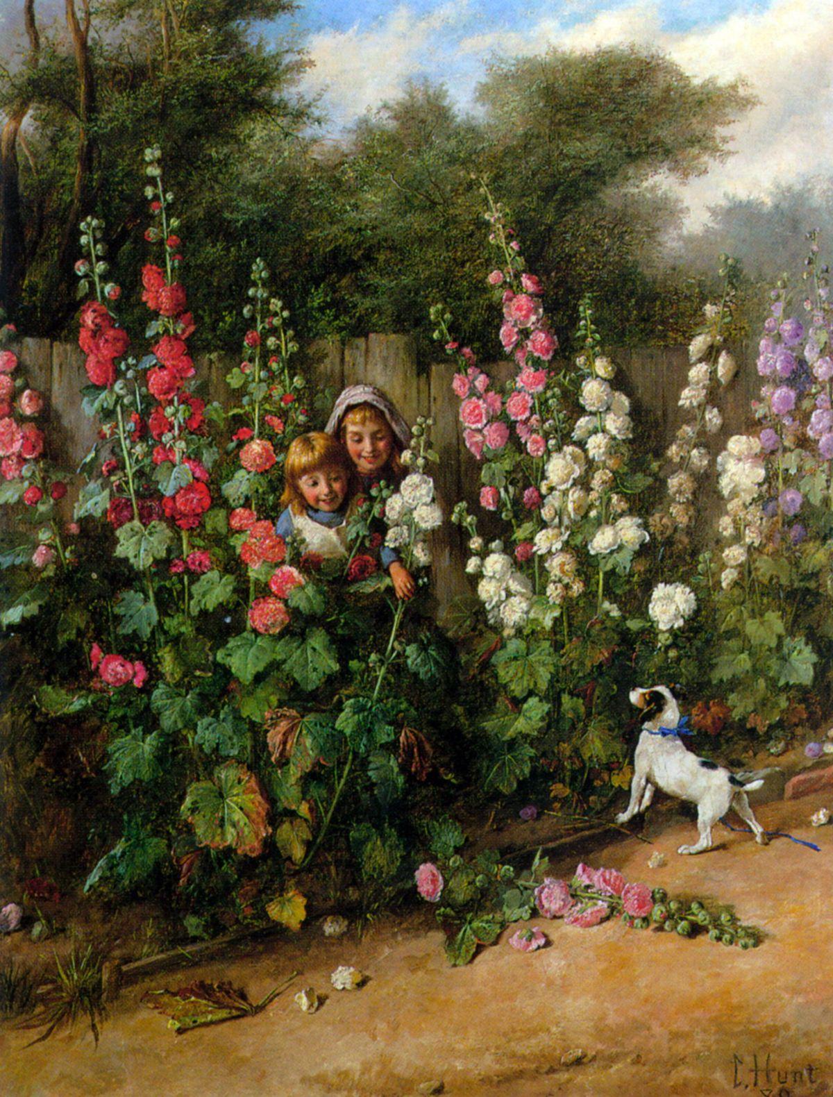 Behind the Hollyhocks by Charles Hunt