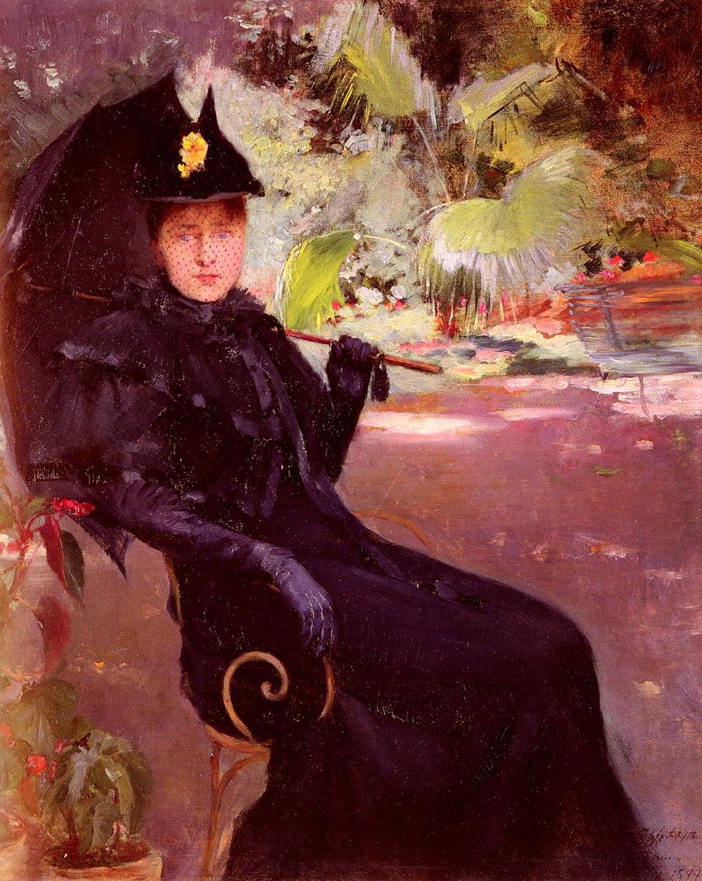 Dans le Jardin by Claude Firmin-Portrait Painting