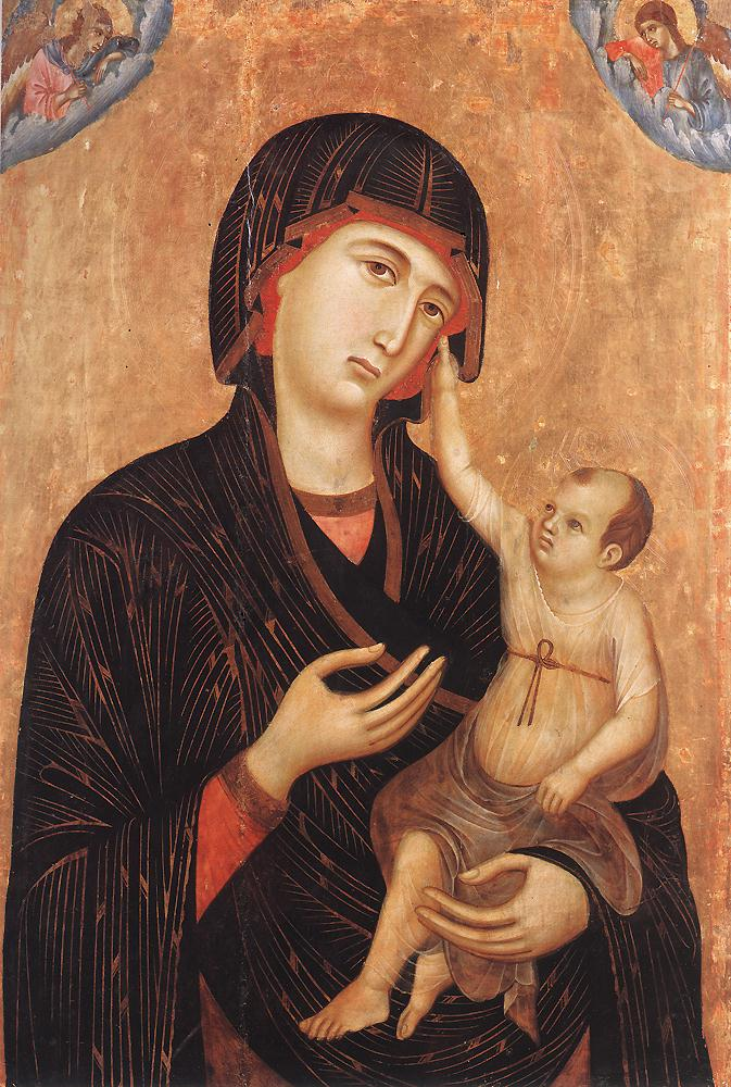 Madonna with Child and Two Angels Crevole Madonna by Duccio di Buoninsegna