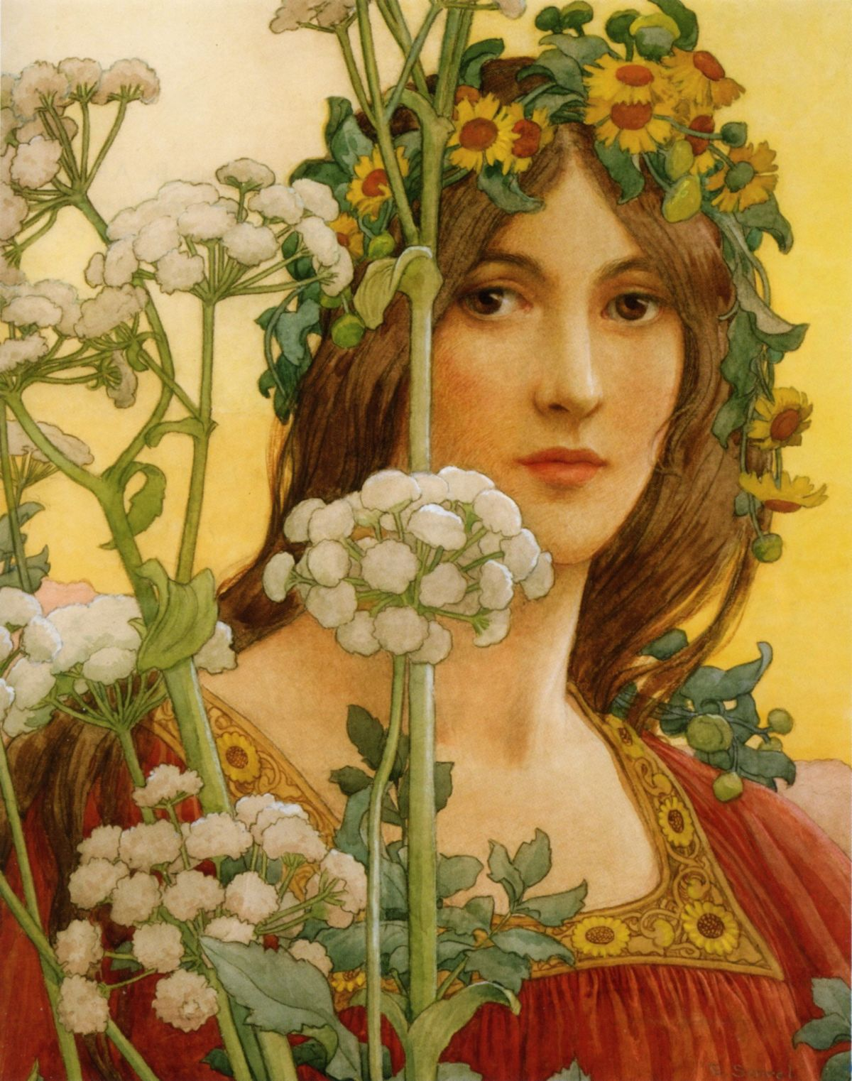 Our Lady of Cow Parsley by Elisabeth Sonrel-Portrait Painting